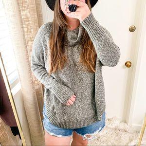 Cowl Neck Knit Curve Hem Sweater Sz XXL